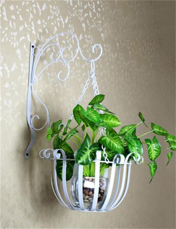 LB huajia ZHANWEI Europäische Art-Eisen-Wand-hängende Blumentöpfe Regal für Innen-, Balkon-, Wand-hängende Orchideenkorb, Zahnstange (Farbe : Weiß)