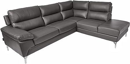 Homelegance 9969 Genuine Leather Upholstered Sectional Sofa, 98 , Gray