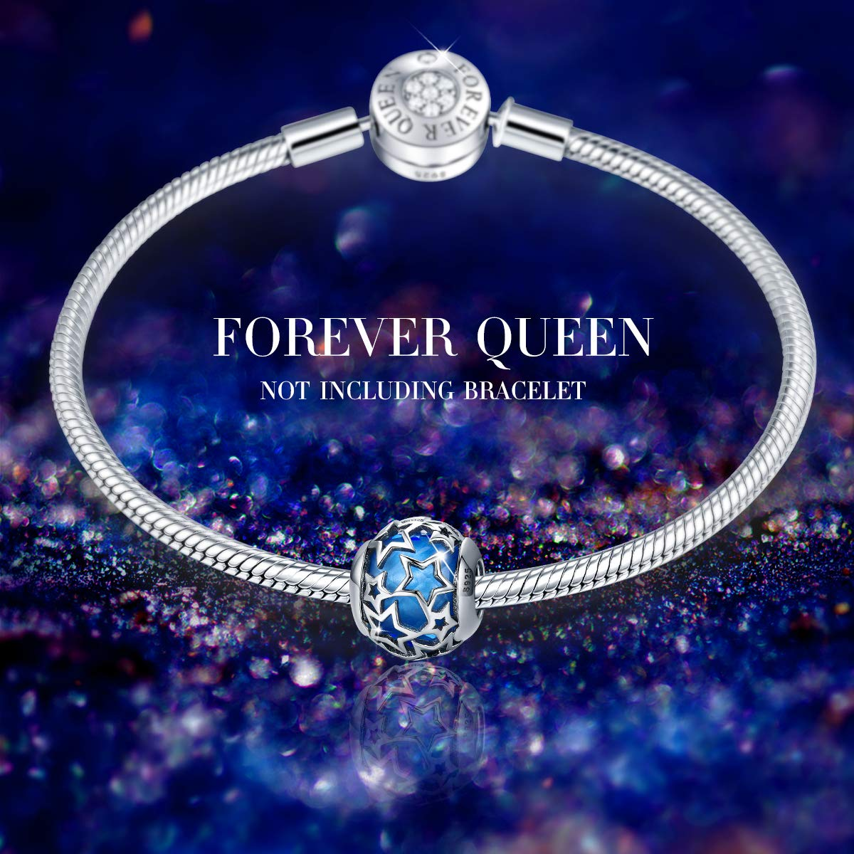 c4c47ffa5599b FOREVER QUEEN Starry Night Charm for Bracelet 925 Sterling Silver Stars  Murano Glass Charms Beads Fit for Bracelet & Necklaces Gifts for Women Box  ...