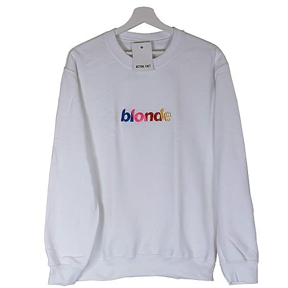 ddeaf8d3 Actual Fact Frank Ocean Blonde NASCAR Stripe Embroidered Hip Hop Odd Future  White Sweatshirt Top: Amazon.co.uk: Clothing