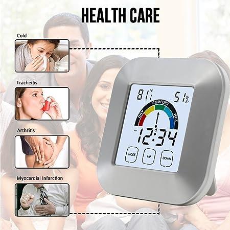 Termómetro higrómetro digital LCD, minimonitor de tiempo, reloj inalámbrico multifunción con indicador de comodidad, pantalla táctil de tiempo y reloj ...
