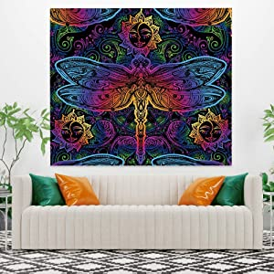 Abstract Sun Tapestry,Psychedelic Moth and Sun Tapestry,Mysterious Boho Floral Tapestry Wall Hanging for Home Bedroom Living Room Dorm Decor 33.9x27.6 Inch by OFila
