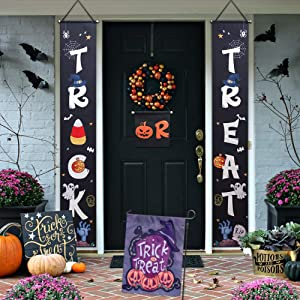 Halloween Decorations Outdoor(3 Banner+1 Garden Flag),Trick or Treat Set Includes Trick or Treat Banner for Front Door Display and Double Sided Scary Flag for Garden,Durable Halloween Home Decor.