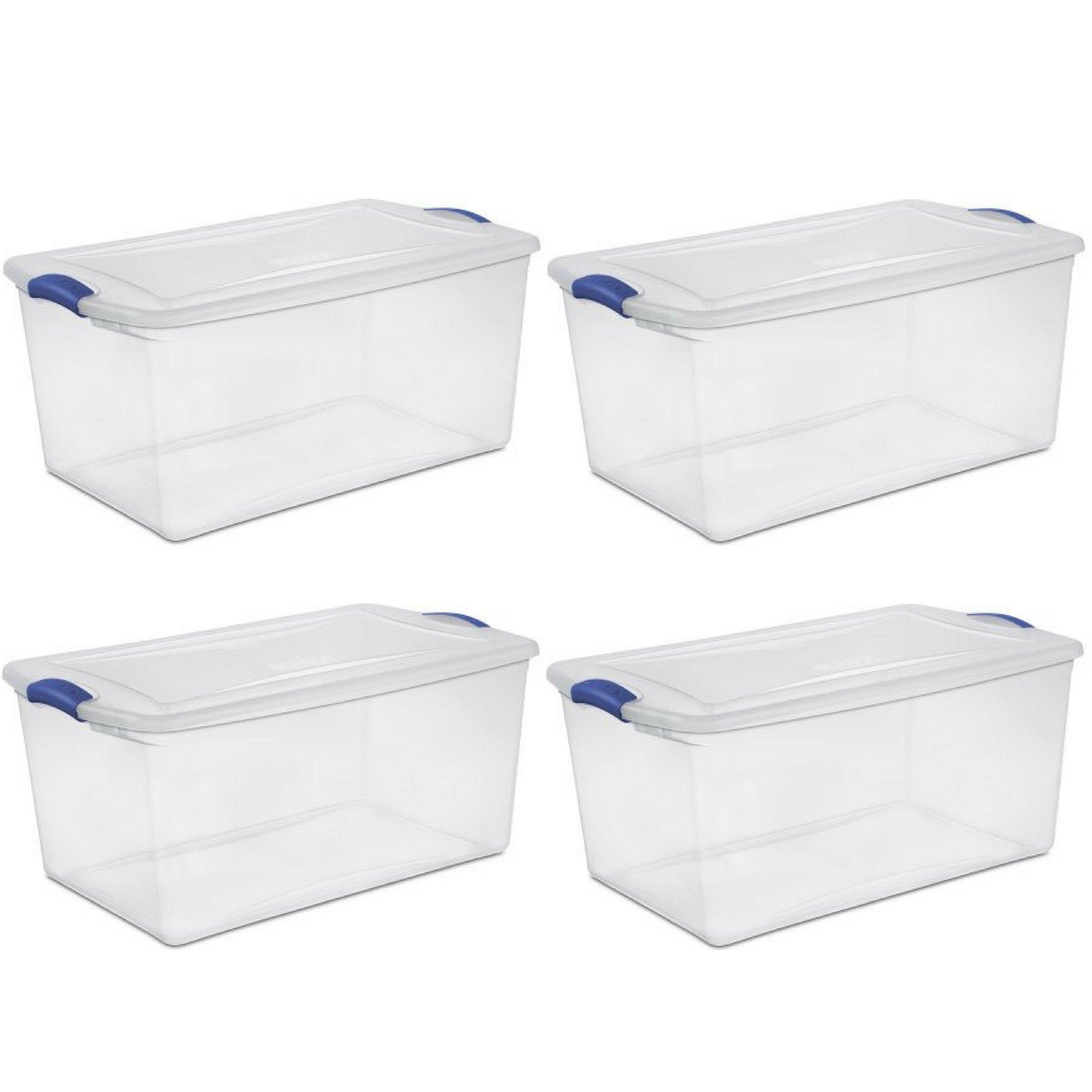 Sterilite 105 Qt./99 L Latch Box, Stadium Blue - 4 Pack