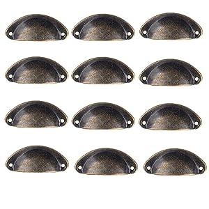 Antrader 12-Pack Metal Semicircle Knobs Vintage Decorative Pull Handle Bronze Tone for Cabinet Drawer Door
