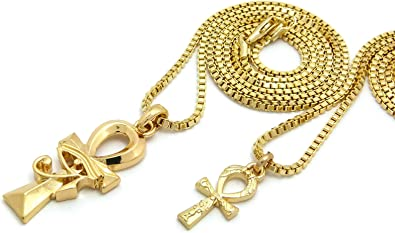 """Egyptian Micro Double Pave Ankh Pendant 20/"""",24/"""",30/"""" Box Chain 2 Necklace Set"""