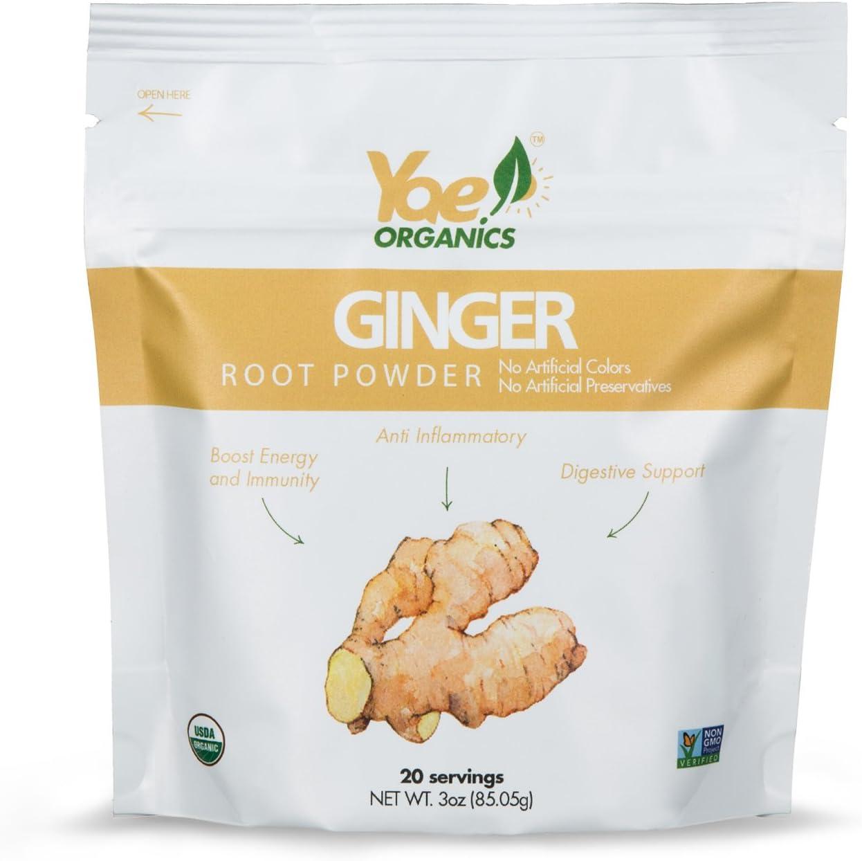 Yae! Organics Organic Keto Ginger Root Powder, 100% Pure Antioxidant Superfood Immunity Boost Gluten Free Non GMO, No Artificial Additives, Preservatives and Sugar (3oz/20 Servings)