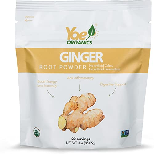Yae Organics 3oz 20 Servings Organic Keto Ginger Root Powder, 100 Pure Antioxidant Superfood, Gluten Free, Non-GMO, No Artificial Additives, Preservatives, or Added sugars