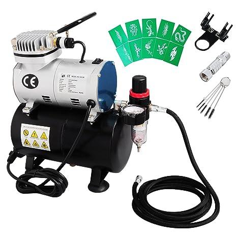 voilamart cepillo de aire compresor manguera de soporte de aerógrafo plantillas para depósito de 3L para