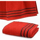 Drap De Douche 70x140 cm 100% Coton - 550 grS/m2 Rouge Avec Liserets Noir
