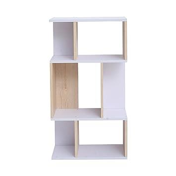 Mobili In Legno Design.Mobili Rebecca Libreria Scaffale 4 Ripiani Legno Chiaro Bianco