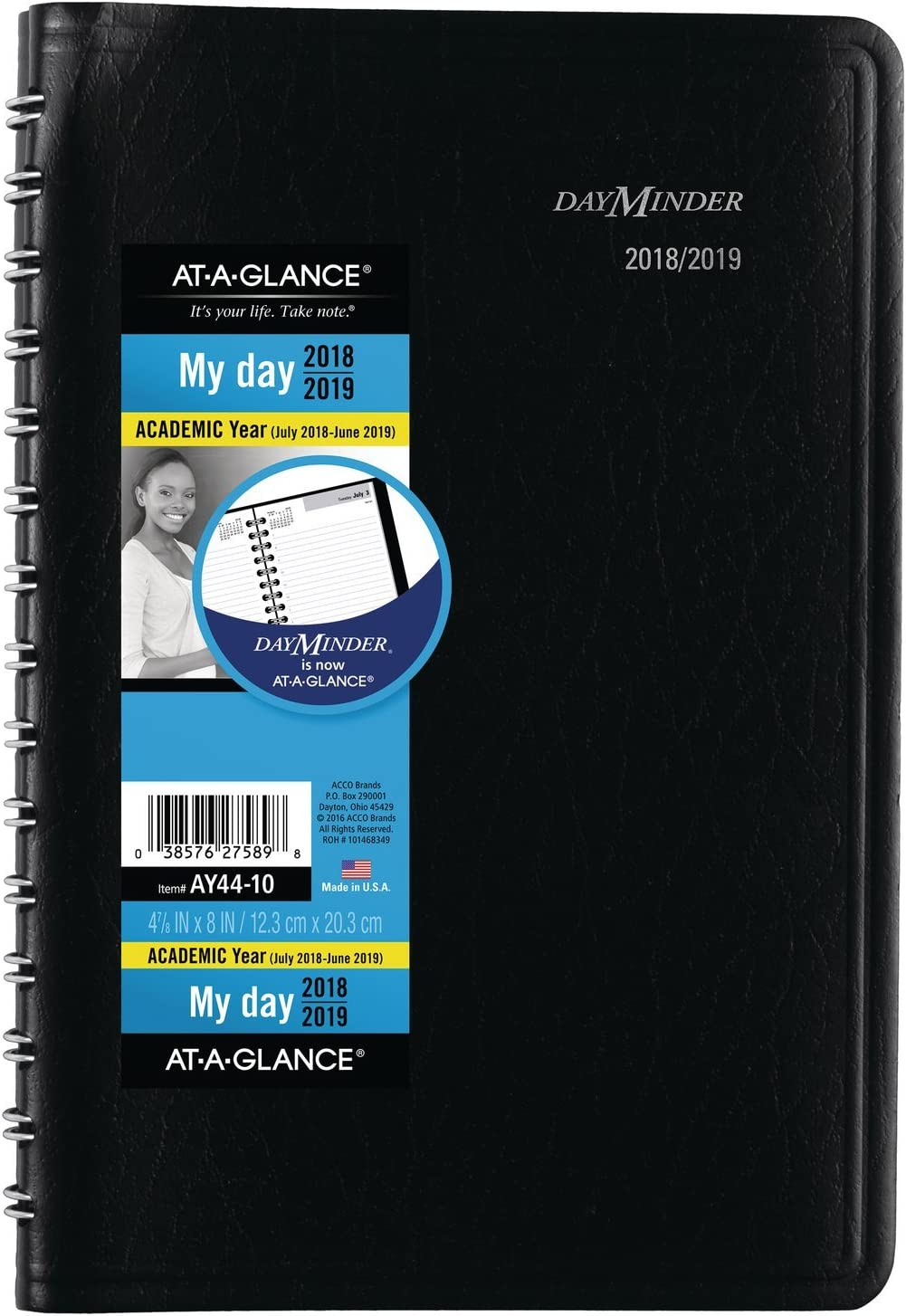 AY440020 Black AT-A-GLANCE 2019-2020 Academic Year Daily Planner//Appointment Book DayMinder Small 5 x 8