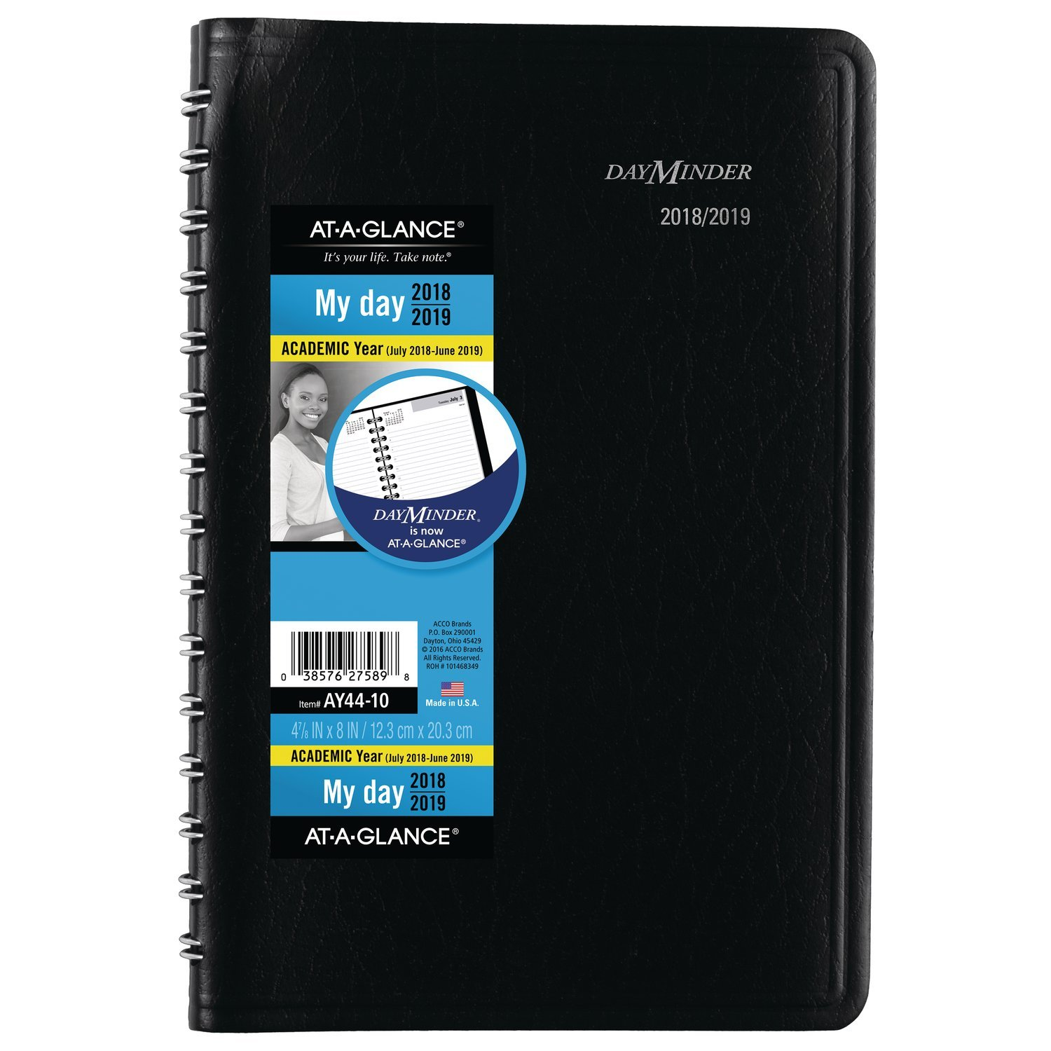 at-A-Glance 2018-2019 Academic Year Daily Planner/Appointment Book, Small, 4-7/8 x 8, DayMinder, Black (AY4400)