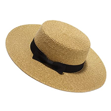 Oudan Ladies Bow Decoration Flat Hat Large Brim Sun Hats (Color   Gold 6b2a4a8f7e8