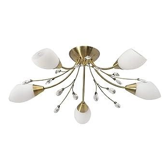 Jours Moderne 5 Chambre Demarkt Blanc Métal Couleur Salle Cristaux 356012905 Pour Abat Opale En À Laiton Plafonnier De Lampes Verre Décoré EWHID29