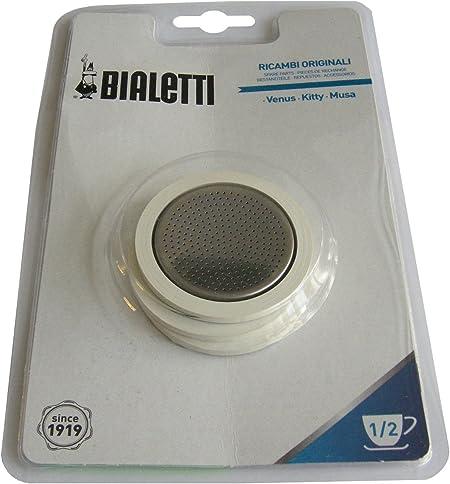Bialetti - Venus 1/2 taza 3 juntas y placa de filtro para macetas de café de acero inoxidable