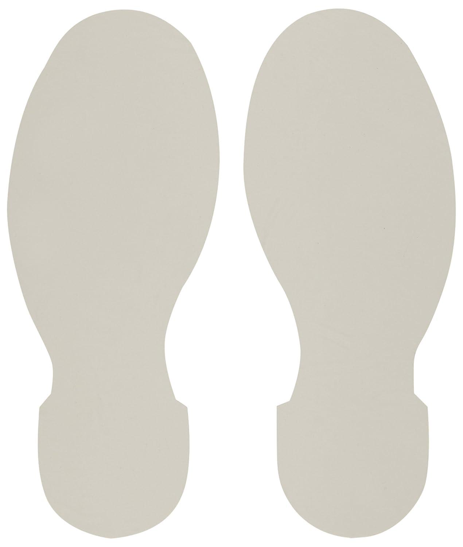 Brady ToughStripe Nonabrasive Footprints Floor Marking Tape, 10' Length, 3-1/2' Width, White (Pack of 10 Per Roll) 10 Length 3-1/2 Width 104411