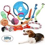Giocattoli della Corde per Cane 10 Pezzi di Giocattoli per Cani Compreso Nodo della Corda, Palla di Corda, Frisbee e Anello di Gomma Resistente Giochi da Masticare per Piccolo Medio e Grande Cani