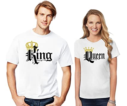 44bf065579 Amazon.com: SR New King and Queen | Crown Black Design T-Shirts -Matching  Couple Shirts - His and Her T-Shirts - Love Tees: Clothing