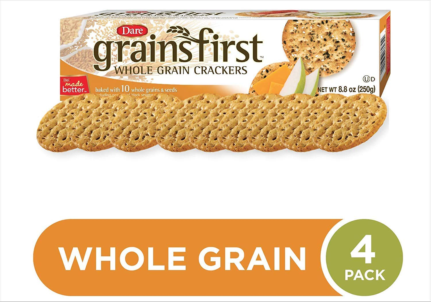 Dare Grainsfirst Whole Grain Crackers, 8.4 oz (Pack of 4) - 100% Natural - Baked with 10 Whole Grains and Seeds - Robust Multigrain Taste - 6g of Whole Grains Per Serving - Delicious Plain or Topped by Dare