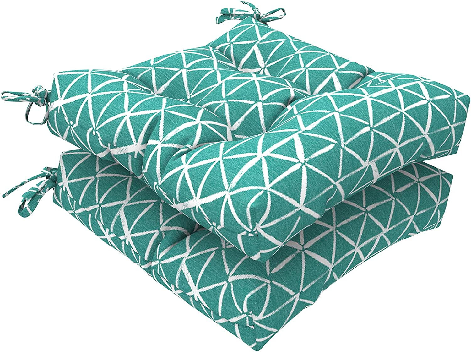 """LVTXIII Outdoor Seat Cushions Square Tufted Chair Cushions, Patio Furniture Decorative Cushions (19""""x19""""x5"""", Geomentry Green ,2 Pack)"""