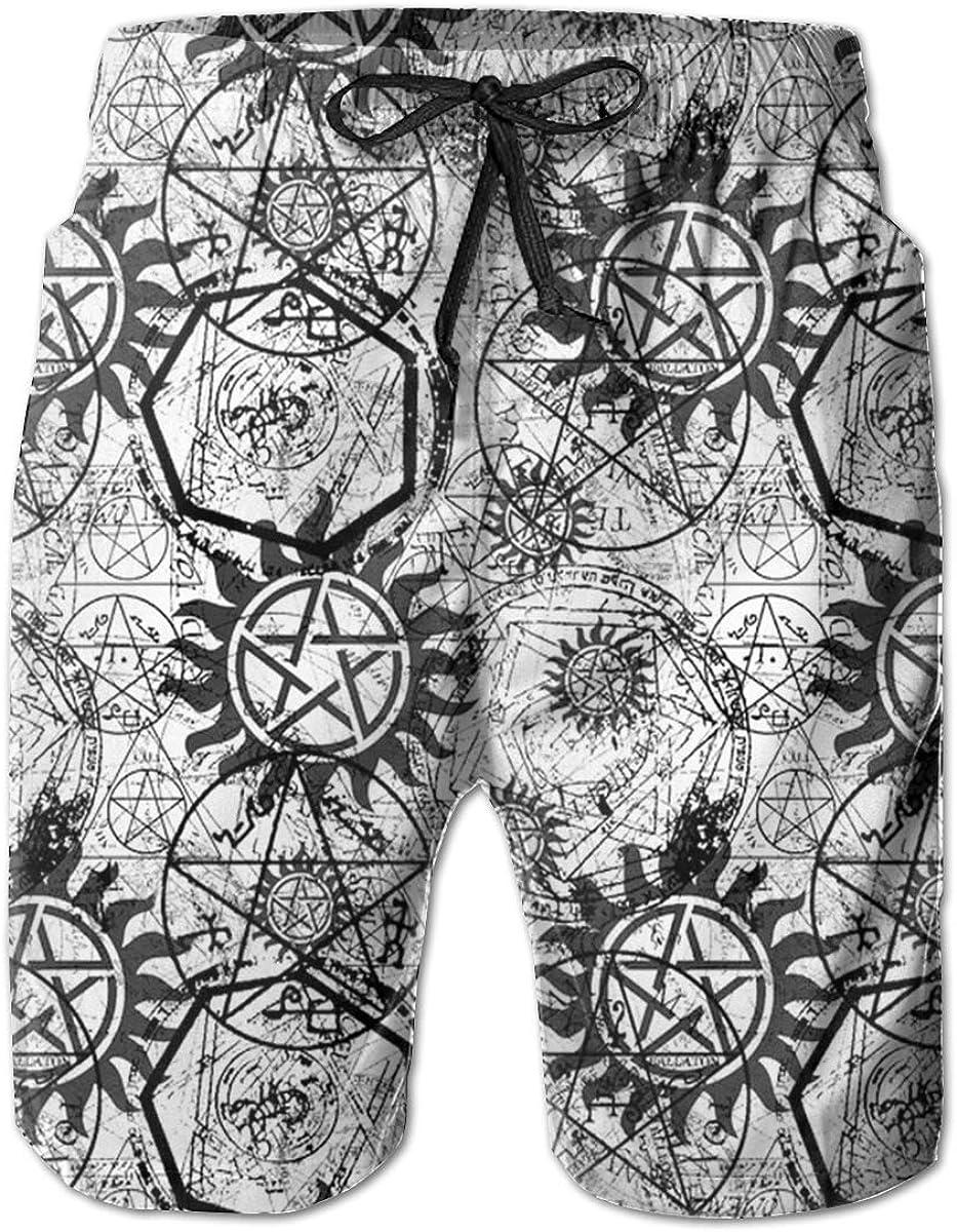 Trikahan Supernatural Symbols Black Mens Beach Shorts Swim Trunks Summer Shorts Running Shorts