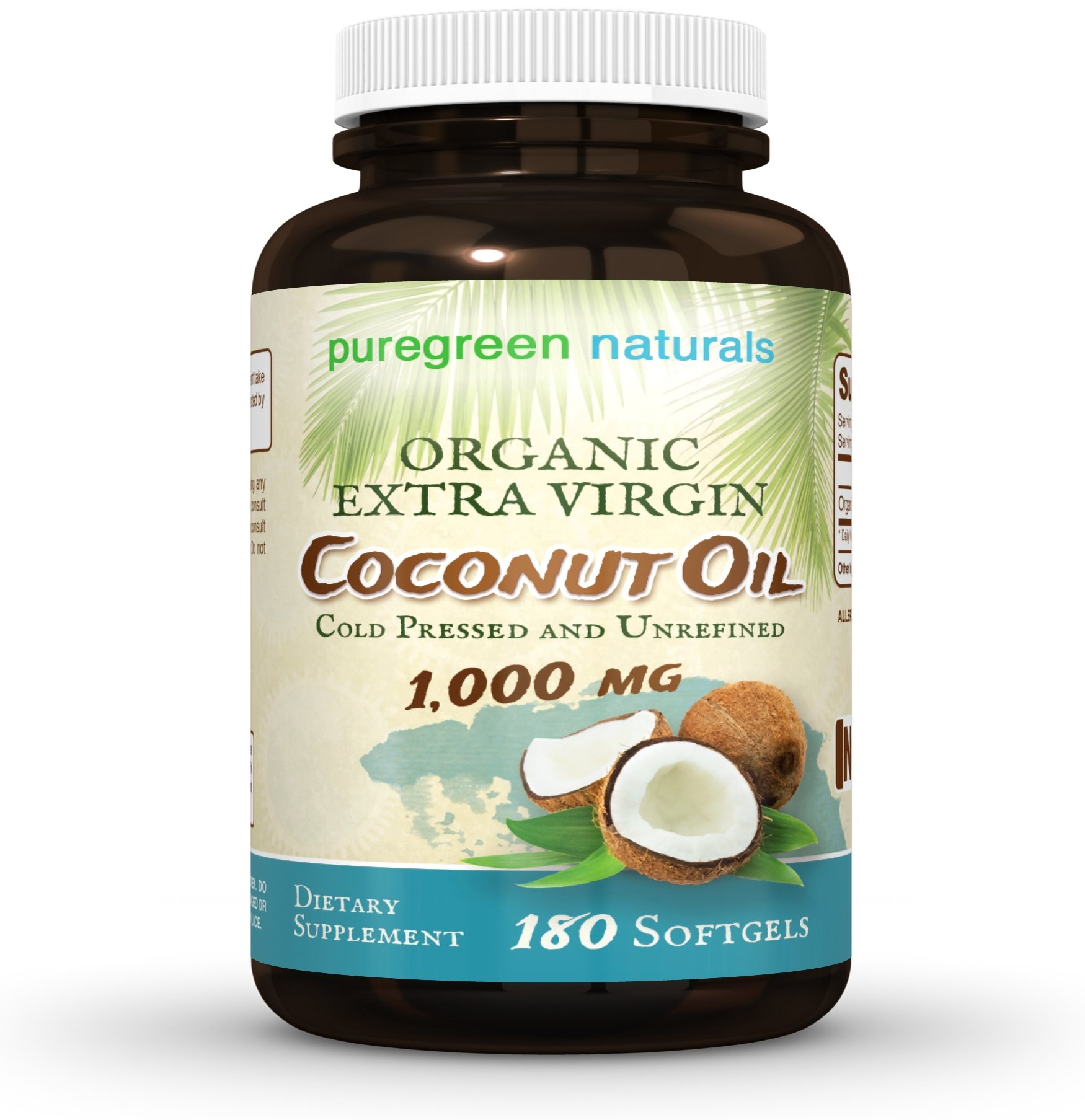 Coconut Oil Capsules - 1000 mg Organic Extra Virgin - 180 Softgels - Great Pills for Energy, Weight Management, Hair, and Skin
