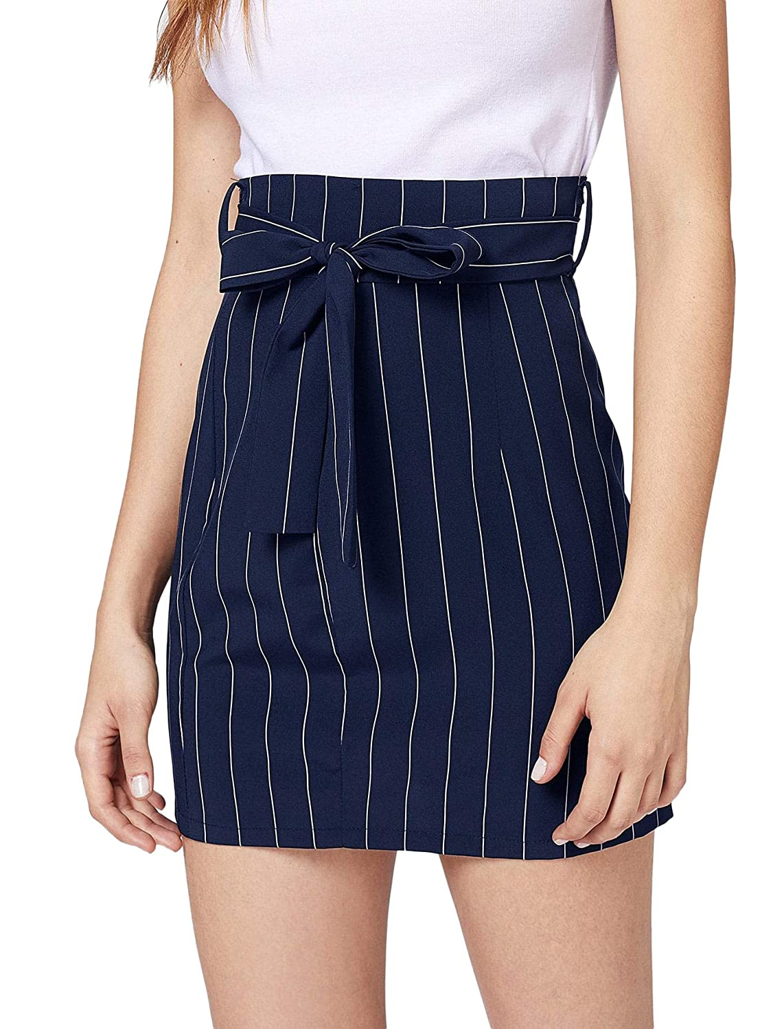 WDIRARA Women's Slim Fit High Waist Knot Front greenical Striped Skirt Navy S