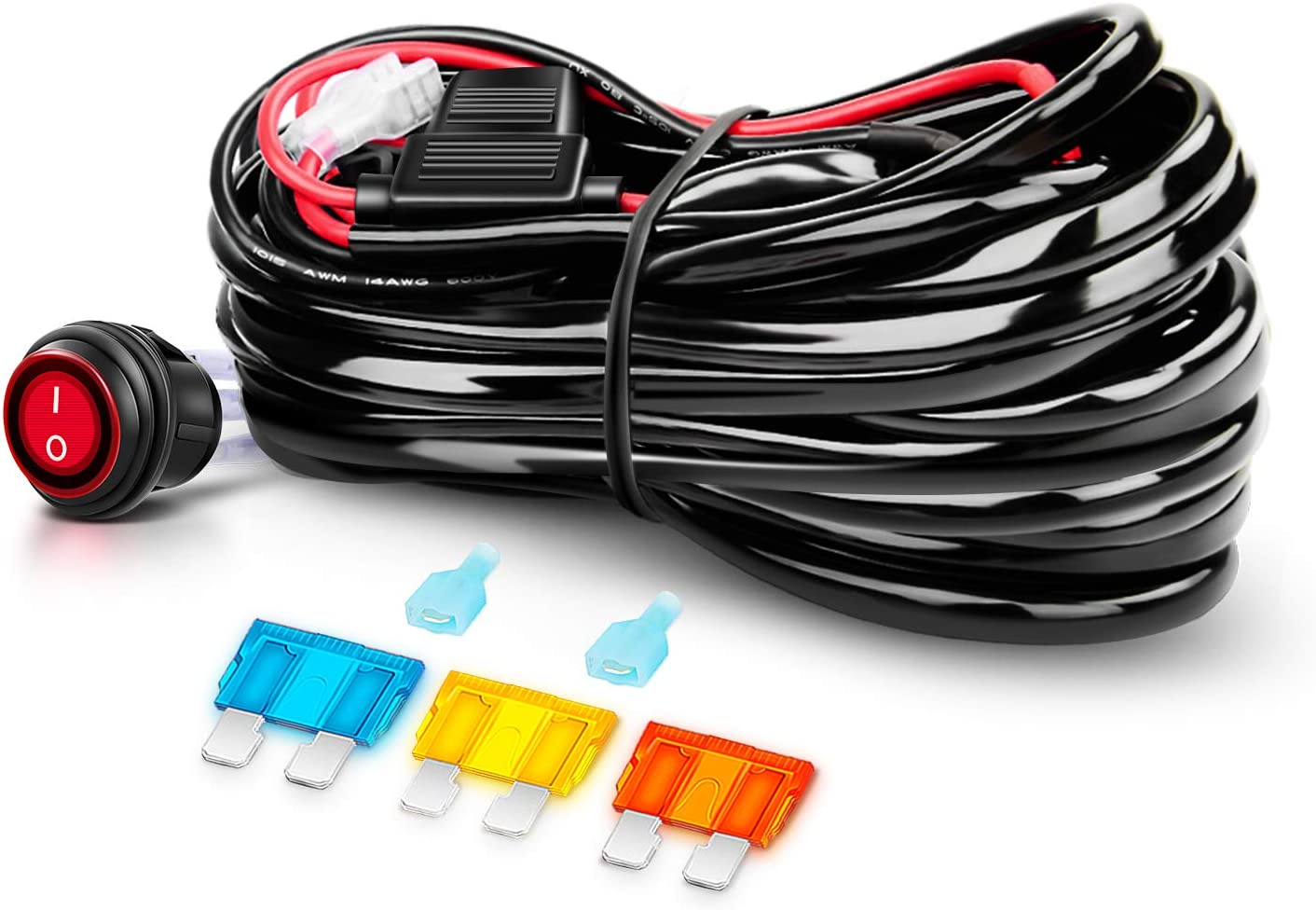 amazon.com: nilight off road atv/jeep led light bar wiring harness kit 40  amp relay on/off switch included: automotive  amazon.com