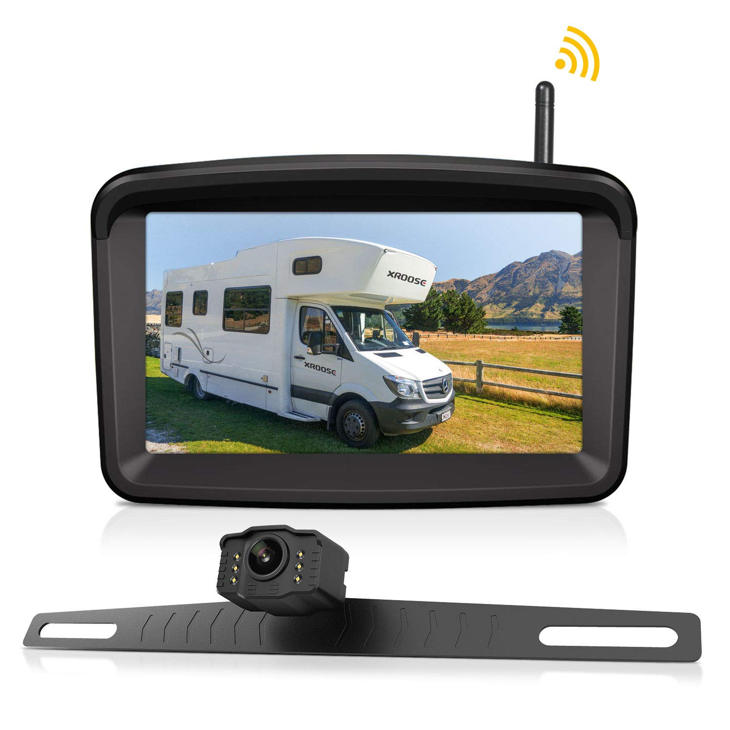 Wireless Backup Camera and Monitor License Plate Mounted HD Digital Signal Reversing Observation Camera Night Vision Waterproof Rear View for 5'' LCD Monitor be Used for Safety Driving by Xroose