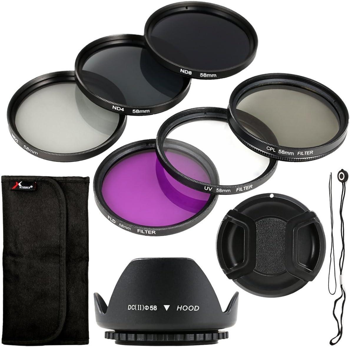Pack de seis unidades de filtro y parasol UV CPL ND + soporte de 58mm para Canon EOS, Canon EOS Rebel, XSi, T4i, T3i, 70D, 60D, 700D, 650D, 1100D, 1000D, 600D, 50D, 550D, 1DX, 5D Mark, 5D2, 5D3, 6 Re