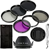 6-Piece Lens Filter Set with Lens Hood and Cap - UV CPL ND Filters 58 mm for Canon EOS Canon EOS Rebel XSi T4i T3i 70D 60D 700D 650D 1100D 1000D 600D 50D 550D 1DX 5D Mark 5D2 5D3 6 Rebel XSi T4i T3i LF134