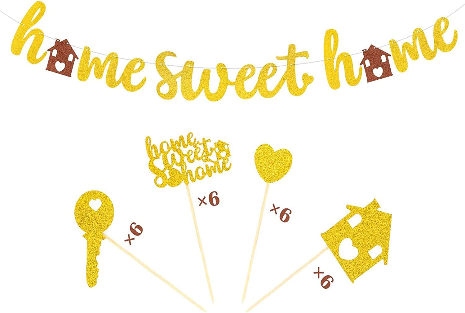 Joymee Home Sweet Home Banner Family Cupcake Toppers Housewarming Decor for New Home Navy Military Classroom Warming Welcome Party Suppliles Gold Glitter Decorations 25 PACK