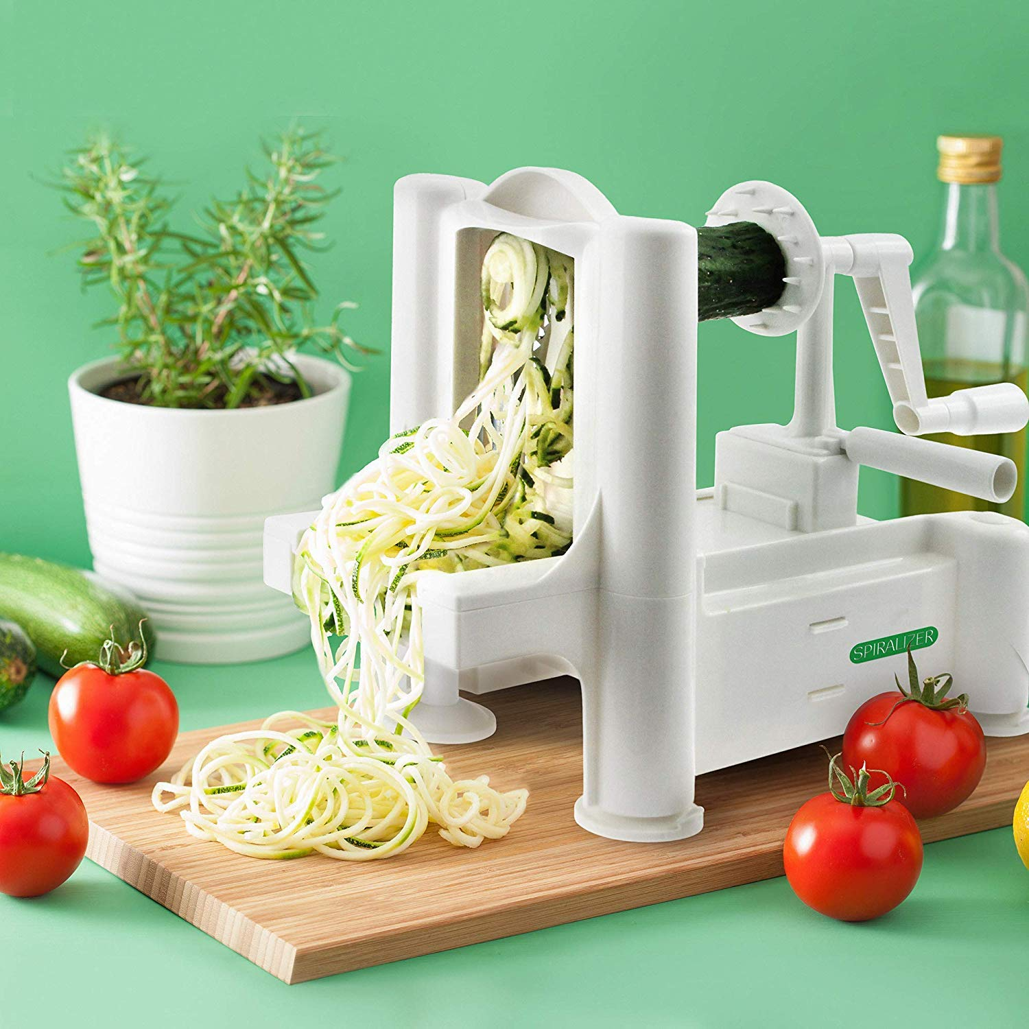 Spiralizer 5-Blade Vegetable Slicer, Strongest-and-Heaviest Spiral Slicer,  Best Veggie Pasta Spaghetti Maker for Keto/Paleo/Gluten-Free, Comes with 4