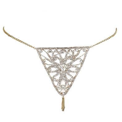 TOOGOO Cadena de cristal retro de Ropa interior sexy Tanga sexy Mini Tanga para Mujer Oro