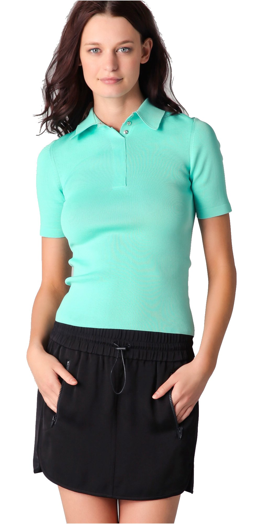 Alexander Wang Technical Short Sleeve Polo (Medium, Aqua)