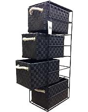 ARPAN, cassettiera Nera con 4 cassetti, Ideale per casa/Ufficio/Camera da Letto, 18 x 25 x 65 cm