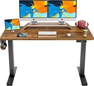 FAMISKY Dual Motor Adjustable Height Electric Standing Desk, 55 x 24 Inches Stand Up Home Office Desk with Splice Tabletop, Black Frame/Walnut Top