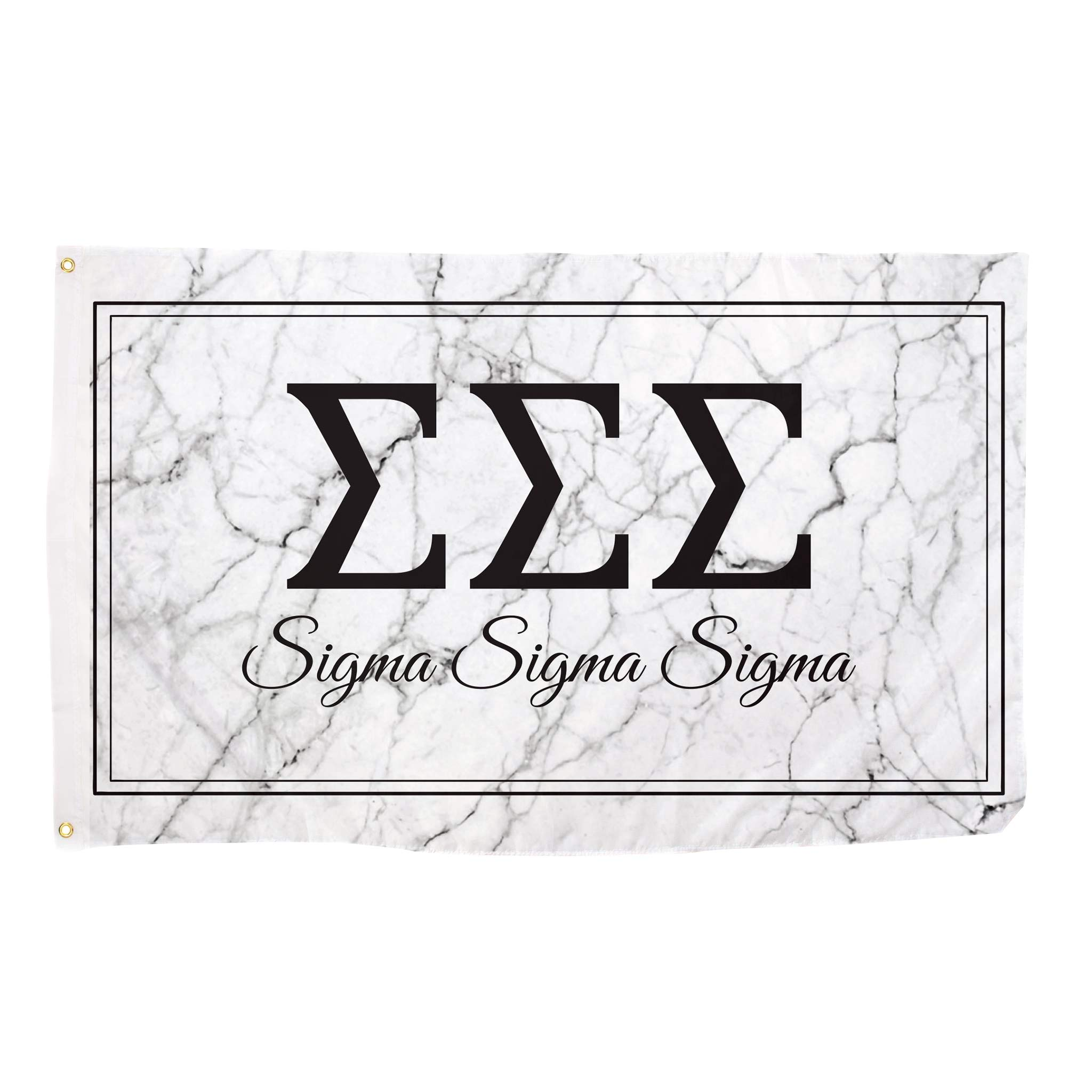 Sigma Sigma Sigma Marble Box Letter Sorority Flag Banner 3 x 5 Sign Decor Tri-Sig - Marble Box by Desert Cactus
