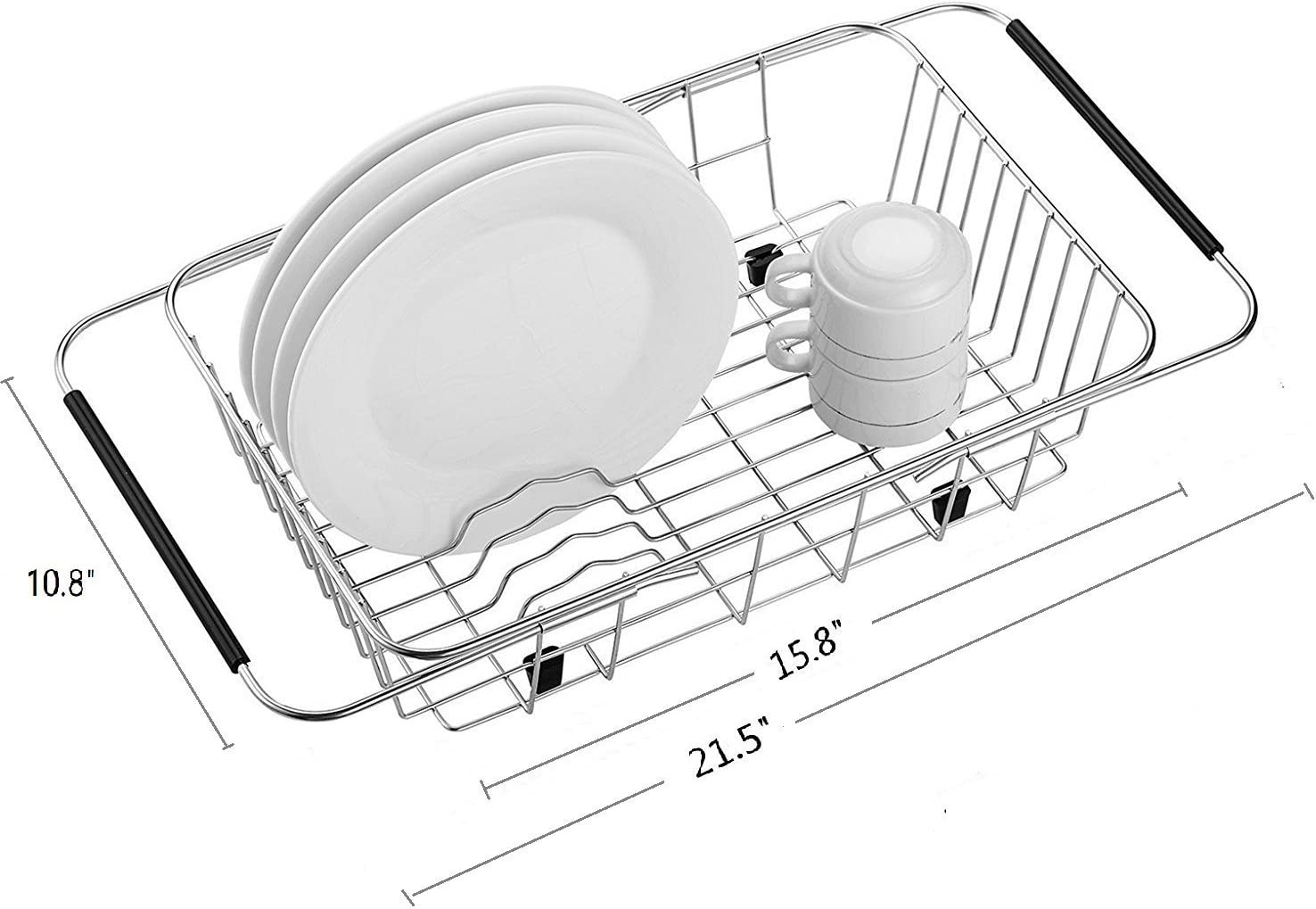 Expandable Dish Drying Rack, Dish Drainer On Counter,Over Sink or In Sink Dishes Holder,Rust Proof Stainless Steel