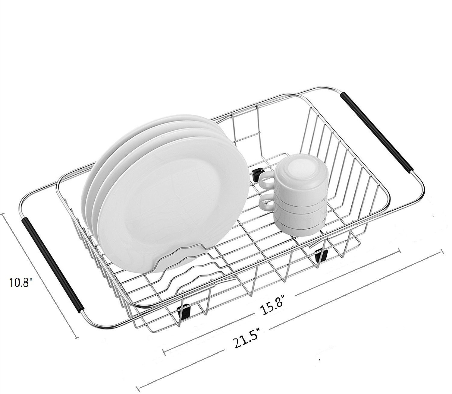 MOHICO Expandable Dish Drying Rack, Dish Drainer On Counter,Over Sink or In Sink Dishes Holder,Rust Proof Stainless Steel