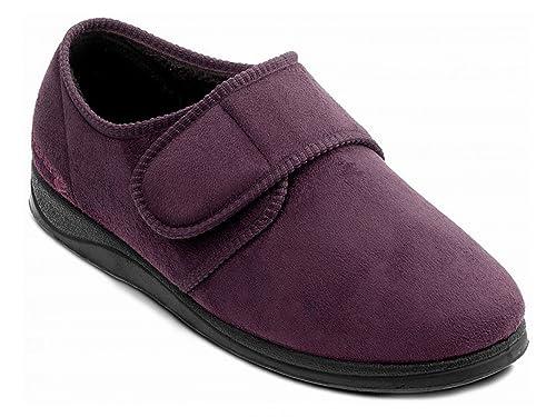 Padders – Charles de Hombre de Piel Ante Velcro Wide (G), Zapatillas Burdeos