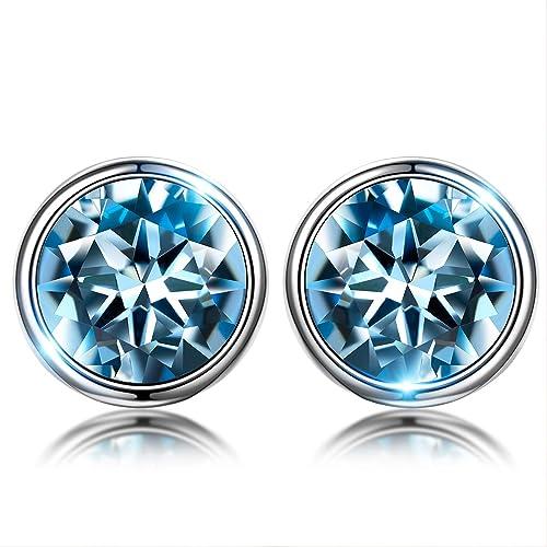 0c61376a3696 Susan Y Blue Stud Earrings para mujer regalos del día de madres para mamá  mujeres niñas cristal de swarovski ...