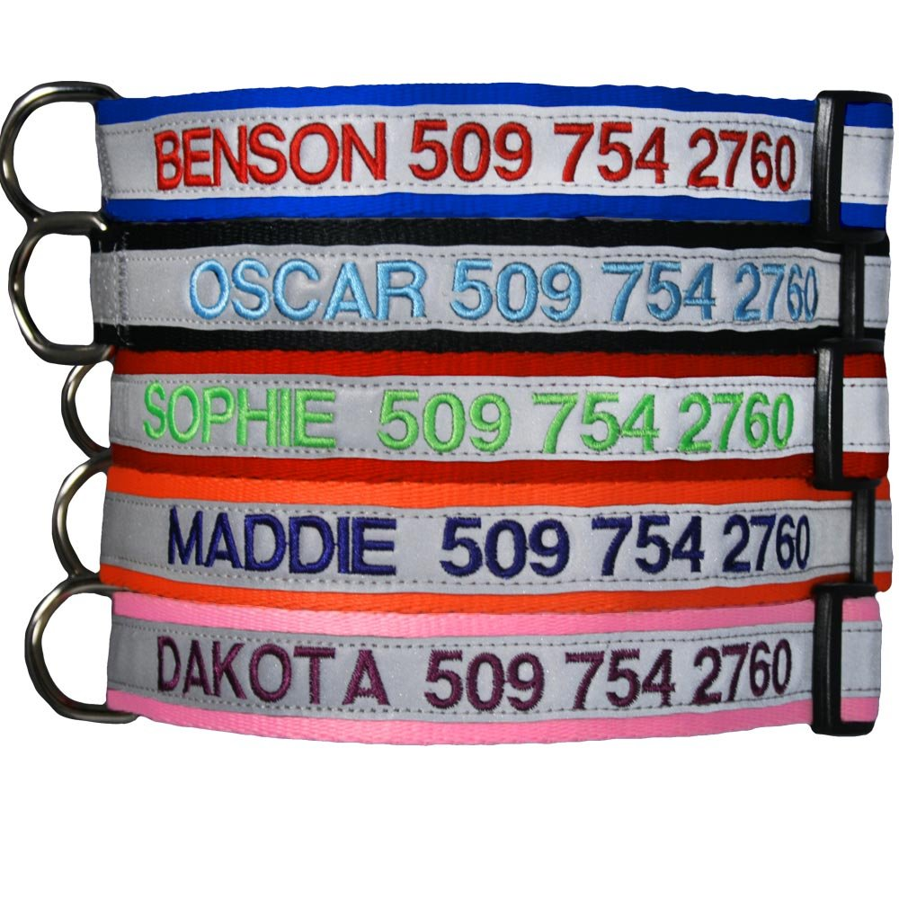 Embroidered Reflective Safety Personalized Dog Collar