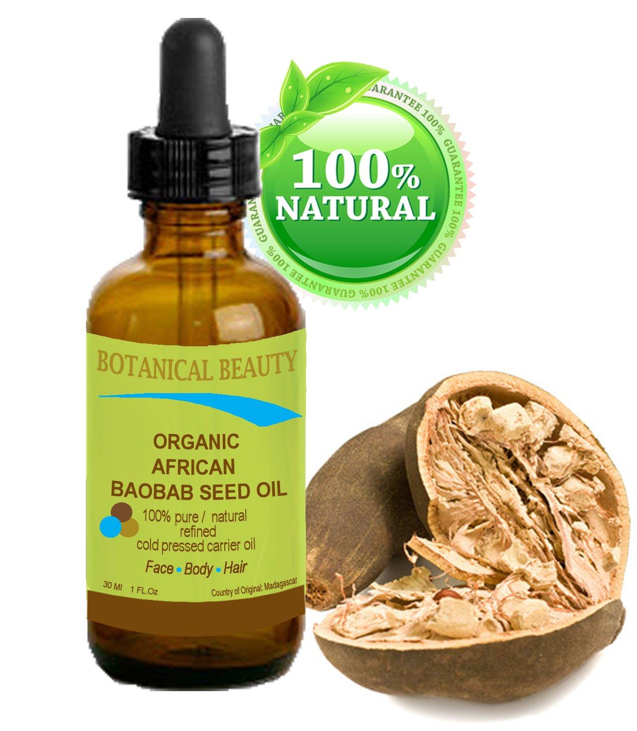 Huile de Baobab BIO en Afrique 100% / raffiné / froid non dilué naturelle pure huile pressée pour la peau, les cheveux, les lèvres et les soins des ongles - 30 ml. Riche en vitamines A, D, E et F e
