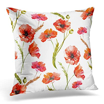 Amazon UPOOS Throw Pillow Cover Red Floral Poppy Watercolor New Poppy Decorative Pillows