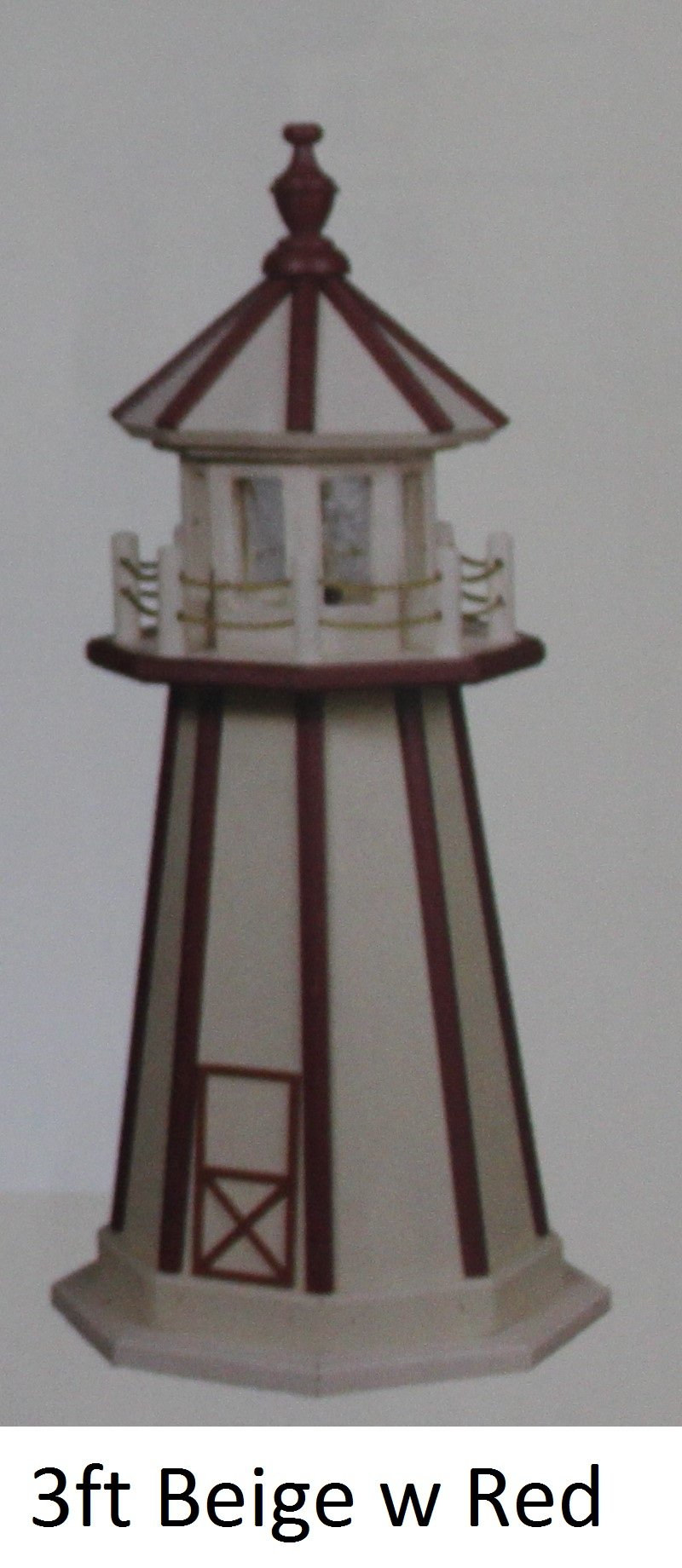 Amish-Made Hybrid (Wood and Poly) Lighthouses - Beige with Red Trim, 2' Tall