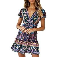 Abravo Mujer Vestido Bohemio Florales Nacional Vestido Magas Cortas Chic de Noche Playa Vacaciones