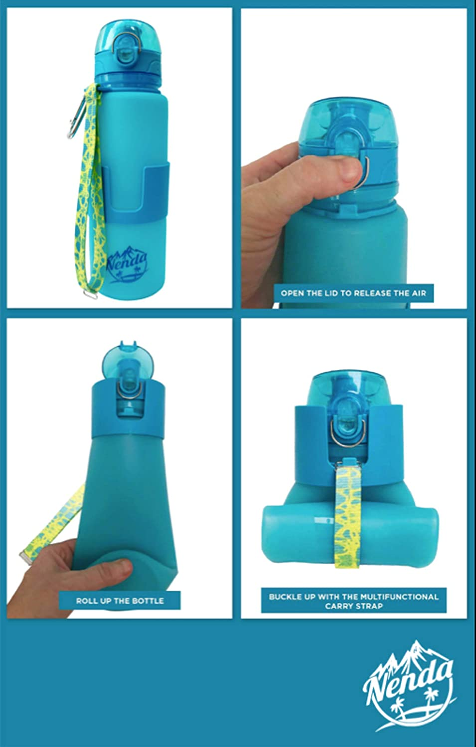 BPA Free Nenda 22oz Silicone Collapsible Travel Water Bottle Leakproof with Carabiner