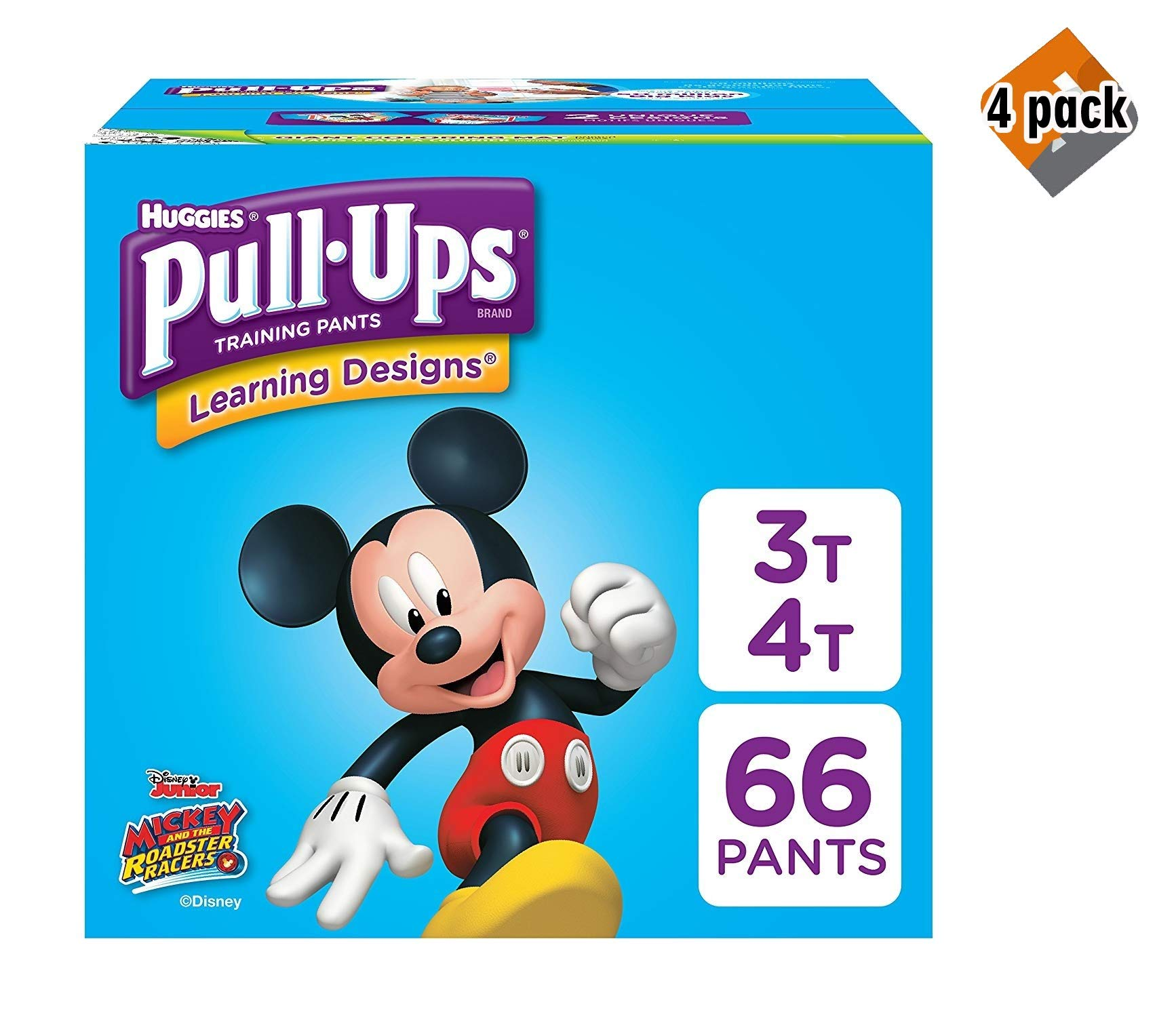 Pull-Ups Learning Designs Training Pants for Boys, 3T-4T (32-40 lbs.), 66 Count, Toddler Potty Training Underwear, Packaging May Vary - 3 Pack